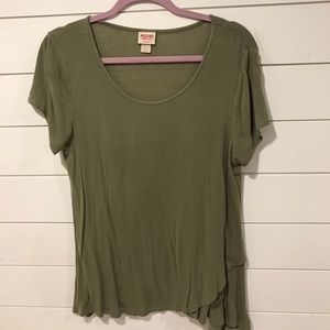 MOSSIMO | Scoop Neck Army Green Long T-Shirt